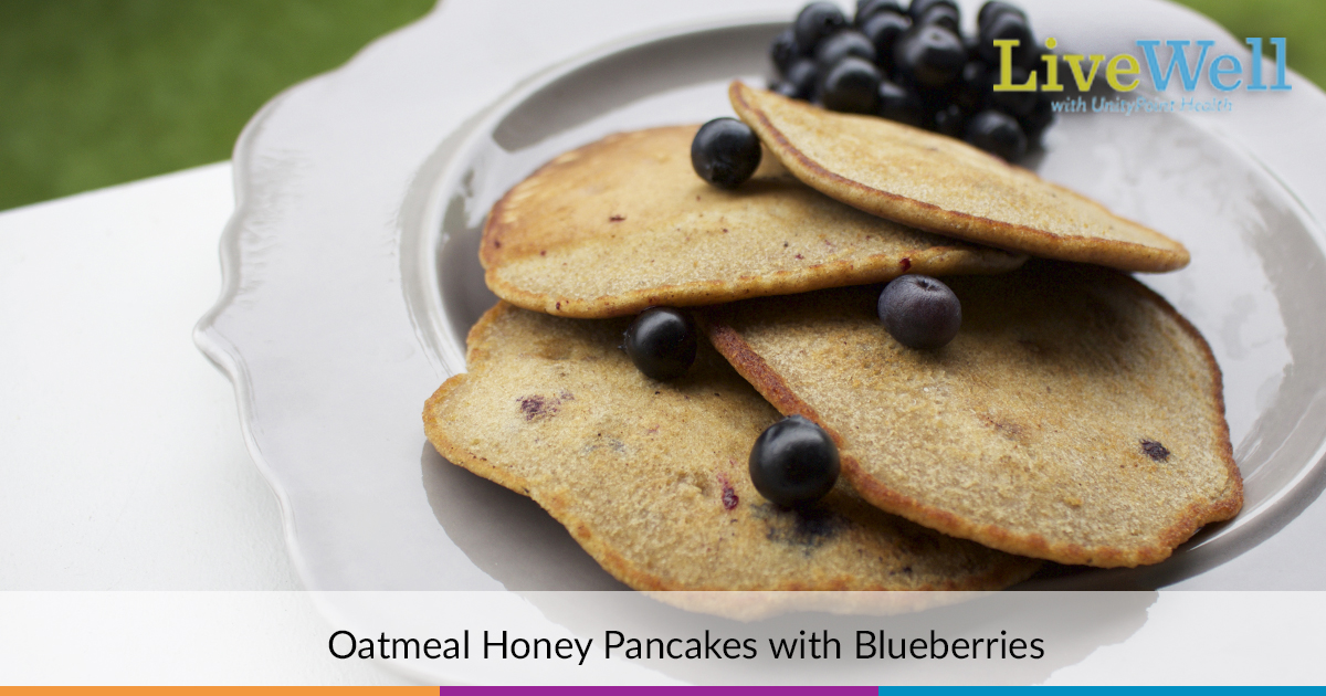 Oatmeal Honey Pancakes with Blueberries