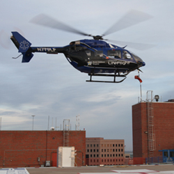 LifeFlight helicopter taking off