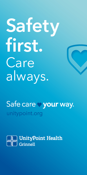 blue gradient background with a heart, reading 'Safety first. Care always. Safe care your way. unitypoint.org' UnityPoint Health - Grinnell logo in white and blue